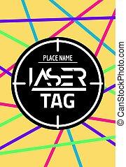 cible, partie., vecteur, bannière, lasertag, laser, jeu, affiche, étiquette, amusement, coup, but, néon, flyer.