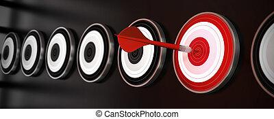 cible, succès, centre, beaucoup, sur, style, une, cibles, arrière-plan noir, horizontal, dard, bannière, reflet, rouges