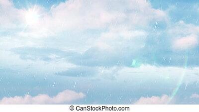 ciel, 4k, nuages, pluie, bleu