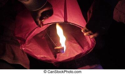 ciel, amis, groupe, lancement, lanterne