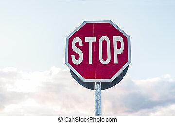 ciel, arrêt, route, fond, signe