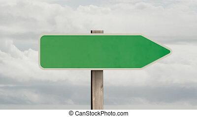ciel, arrière-plan vert, animation, signe, route