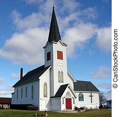 ciel bleu, église