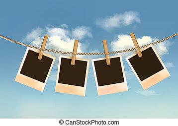 ciel bleu, clouds., corde, photos, retro, vector., pendre, devant