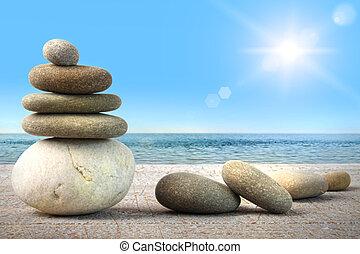 ciel bleu, contre, rochers, bois, spa, pile