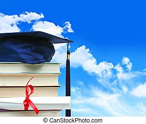 ciel bleu, diplôme, contre, livres, pile
