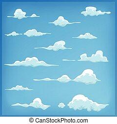 ciel bleu, ensemble, nuages, dessin animé