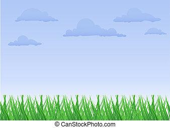 ciel bleu, herbe, blanc vert