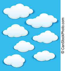 ciel bleu, nuages, ensemble, blanc