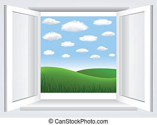 ciel, bleu, nuages, fenêtre, vert, hiil