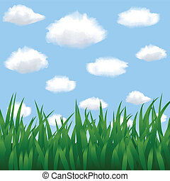 ciel bleu, nuages, herbe verte
