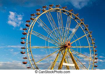 ciel bleu, nuages, parc, amusement