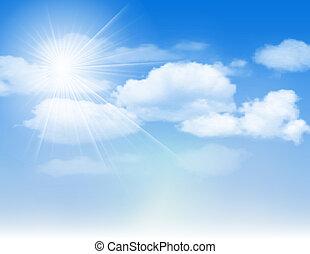 ciel bleu, nuages, sun.
