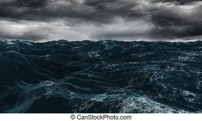 ciel bleu, océan, sous, sombre, orageux