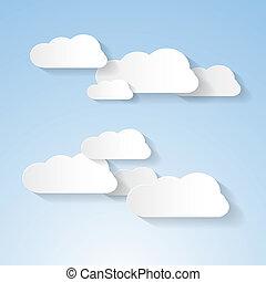 ciel bleu, papier, nuages