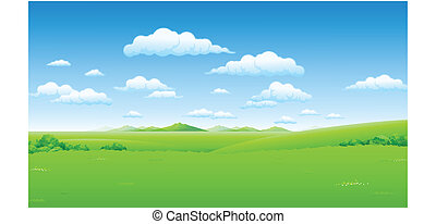 ciel bleu, paysage vert