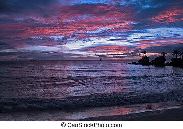 ciel bleu, sable, coucher soleil, thaïlande, blanc