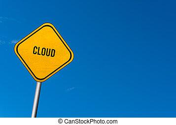 ciel bleu, -, signe jaune, nuage