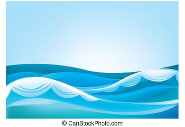ciel bleu, vagues océan