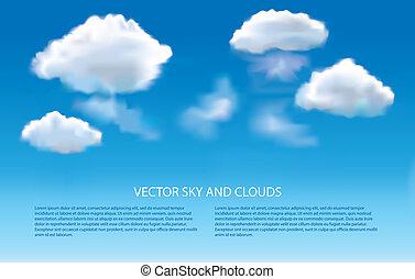 ciel bleu, vecteur, nuages, fond