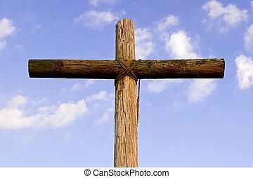 ciel bleu, vieux, accidenté, croix
