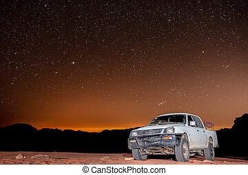 ciel, clair, camion, rhum, nuit désertique, au-dessus, jordanie, étoiles, oued