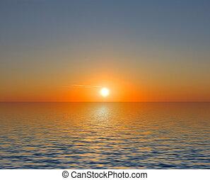 ciel coucher soleil, mer