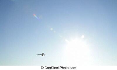ciel, croisement, avion