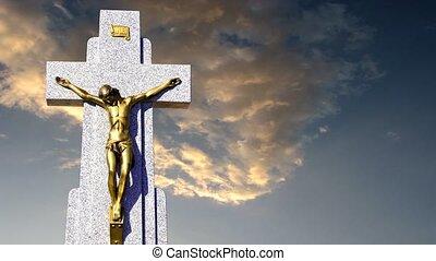 ciel, croix, contre, jésus