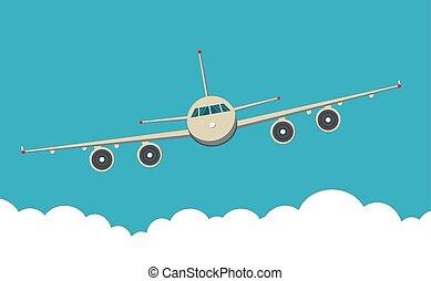ciel, devant, avion, civil, fond, vue, clouds., avion
