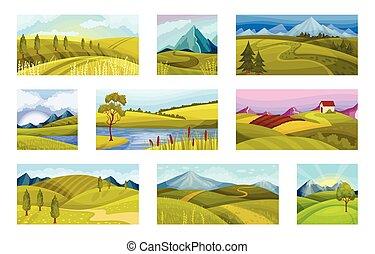 ciel, ensemble, clair, vecteur, collines, vert, illustration, paysages