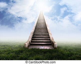 ciel, escalier