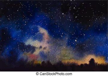 ciel, espace, univers, profond, aquarelle, fantasme, étoiles, fond, violet, bleu