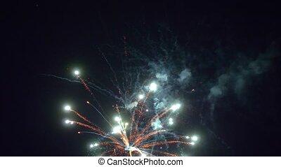 ciel, flamme, haut, multicolore, fin, noir, feux artifice, nuit