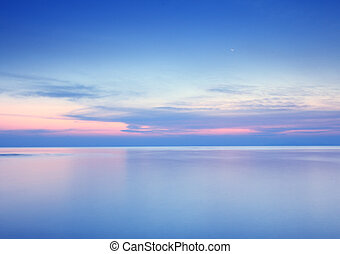 ciel, fond, lune, dramatique, mer, plage, levers de soleil