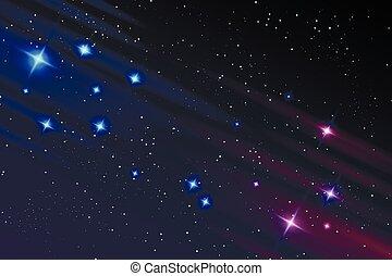 ciel, galaxie, étoiles, nuit