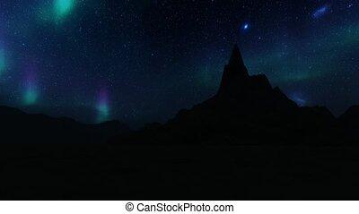 ciel, hiver, lumières, montagne, aurore, nord, étoilé