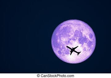ciel, lune, entiers, avion, corneille, nuit, silhouette, vol
