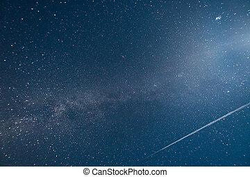 ciel, manière, nuit, étoilé, laiteux