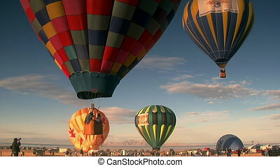 ciel, monter, multiple, air chaud, ballons
