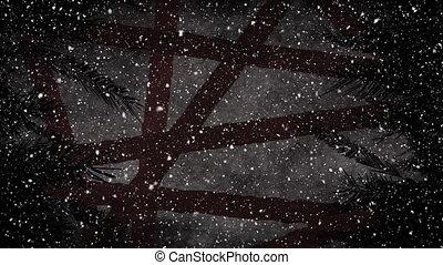 ciel, neige, tomber, contre, arbres, nuit
