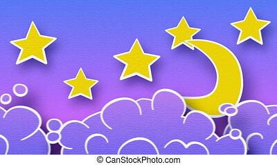 ciel, nuages, boucle, étoiles, lune