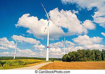 ciel nuageux, turbines, champ, bleu