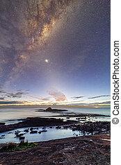 ciel, nuit, avant, levers de soleil, paysage, étoilé, juste, côtier