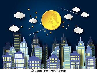ciel nuit, pleine lune