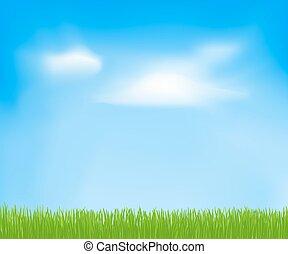 ciel, printemps, résumé, nuages, grass., vecteur, arrière-plan vert, conception, ton, gabarit