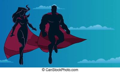 ciel, silhouette, couple, voler, superhero