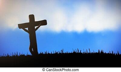 ciel, silhouette, croix, fond, animation, chrétien, nuageux