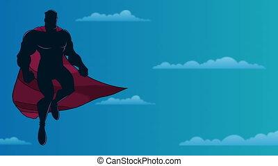ciel, silhouette, superhero, voler