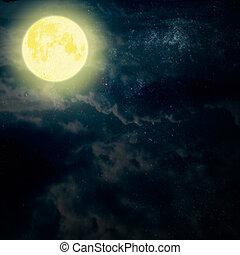 ciel sombre, lune